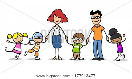 Different happy cartoon children in a foster family or adoptive family