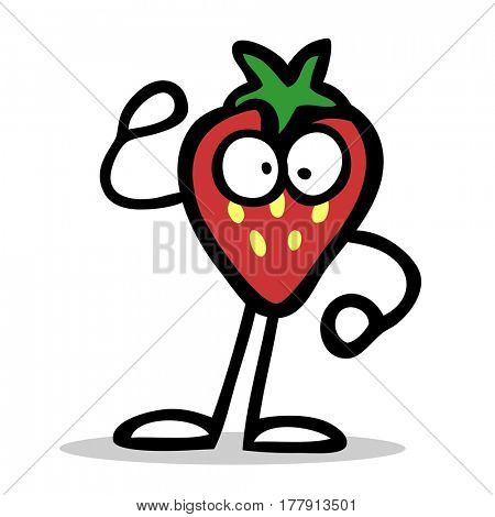 Funny red cartoon strawberry character with arms and legs