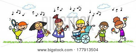 Happy group of cartoon children playing musical instruments in nature