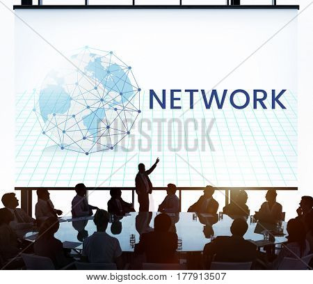 Network connection graphic overlay banner on wall