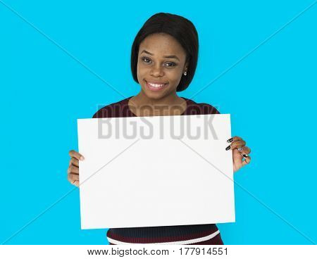 African Descent Woman Smiling Holding Paper