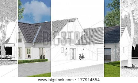 Single family home with carport as CAD sketch and 3D rendering