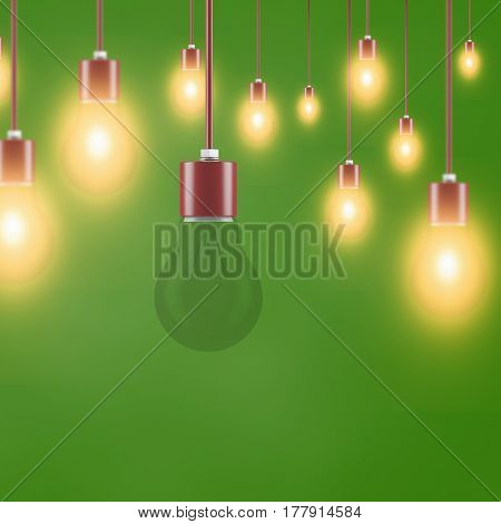 Broken lightbulb with many glowing lamps in front of green background (3D Rendering)