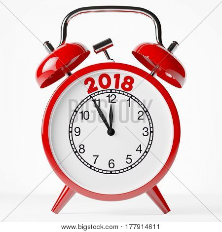 New year 2018 on a red vintage retro alarm clock (3D Rendering)