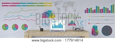 Business panorama with financial data analysis on wall over laptop computer (3D Rendering)