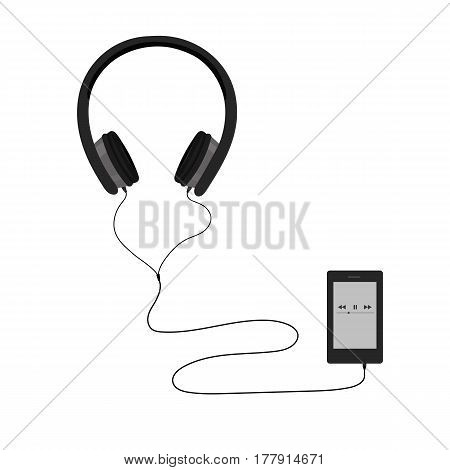 The music headset has a music player attached to the device.