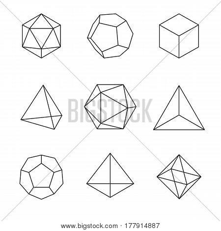 Geometric Shapes - Platonic Solids; set of 9 geometric designs