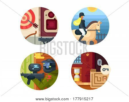 Leisure icon set. Paintball and equestrian sport, quest room. Vector illustration. Pixel perfect icons size - 128 px