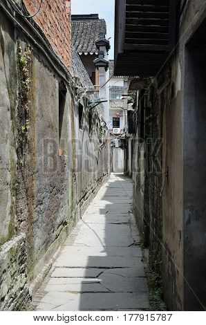 The narrow alleyways of Xitang water town located in in Jiashan County in Jiaxing City Zhejiang Province china.