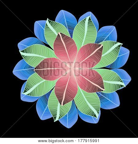 Vector round pattern with three lines of colored green, red and blue leaves on black background. Symmetry circle. Foliage.