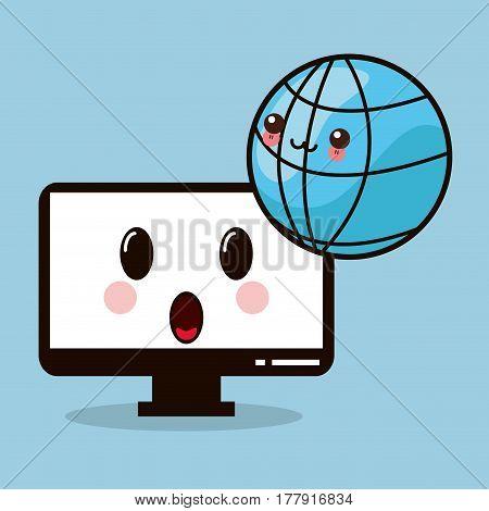 kawaii computer monitor global vector illustration eps 10
