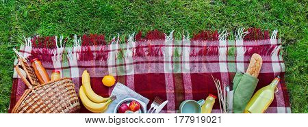 Basket Food Fruit Check Plaid Picnic Banner