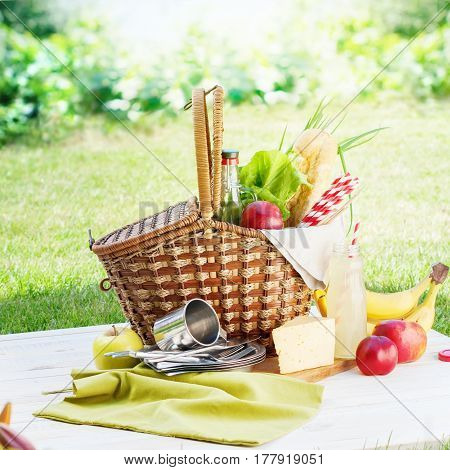 Picnic Wattled Basket Setting Food Drink Summer Time