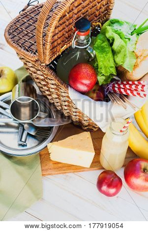Close Up Picnic Wattled Basket Food Summer Time