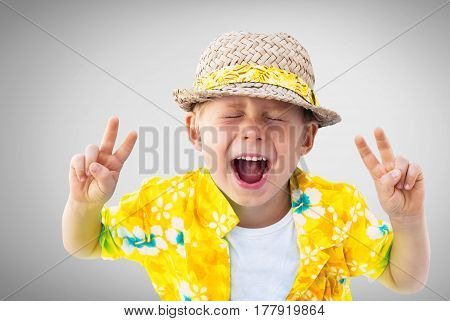 Child Laughs Hawaiian Shirt Straw Hat Holidays