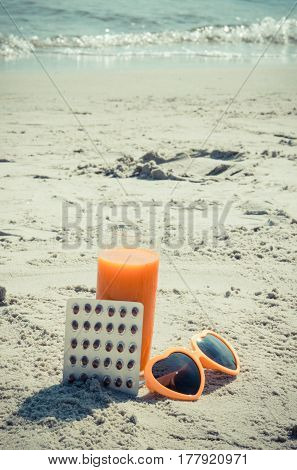 Vintage Photo, Medical Pills, Carrot Juice And Sunglasses On Sand At Beach, Vitamin A And Beautiful,