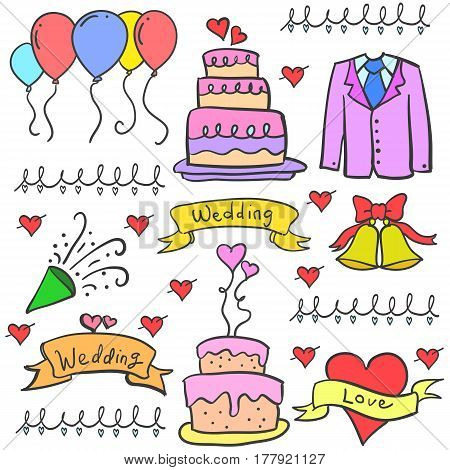 Doodle of wedding object vector art collection stock