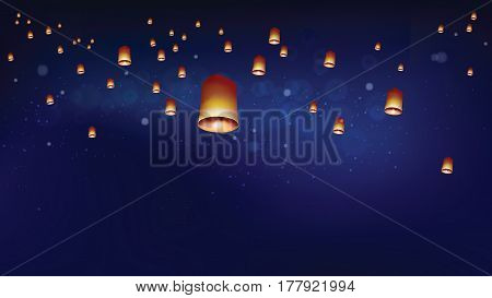 Khom loy or floating lanterns into the night sky. Thai people believed that misfortune will fly away with the lanterns and they like done all festival at night. Sometime belief this activities is sending souls to heaven.