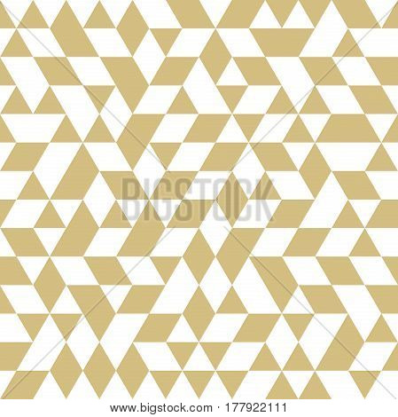 Geometric vector pattern with golden and white triangles. Geometric modern ornament. Seamless abstract background