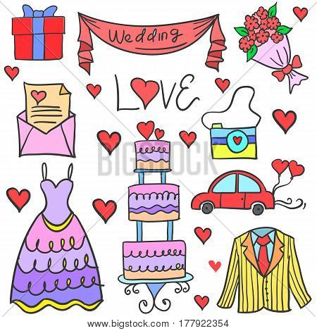 Doodle of wedding element collection stock vector illustration