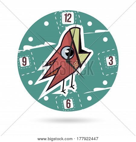 Background for clock with bird. Kids illustration dial plate.