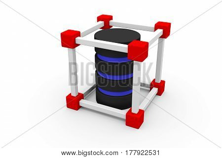 block chain in a server 3D illustration