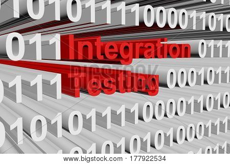 Integration testing in the form of binary code, 3D illustration