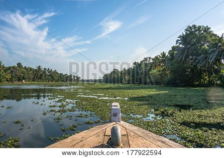 Beautiful Backwaters Landscape In Alleppey City With Sunrise On Background, Kerala, India