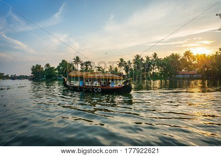 Boat At Sunset In India