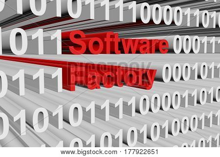 Software factory in the form of binary code, 3D illustration