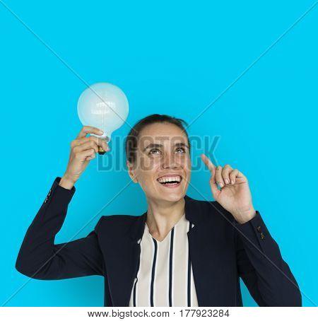 Caucasian Business Woman Light bulb