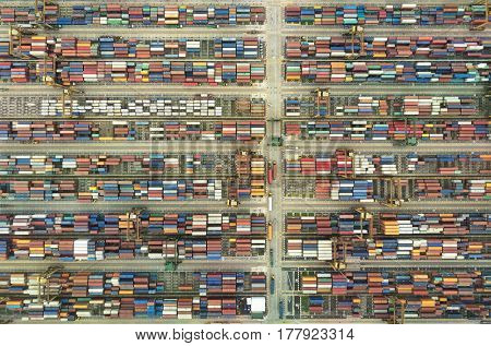 Shipping containers in habour habor terminal port, maritime logistics global trade freight transportation colourful pattern