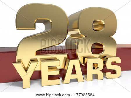 Golden digit twenty eight and the word of the year. 3D illustration