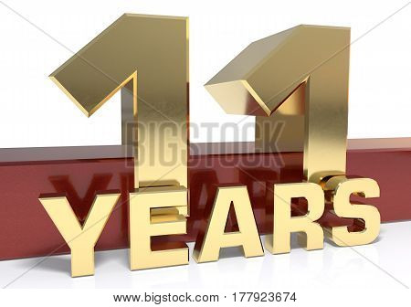 Golden digit eleven and the word of the year. 3D illustration