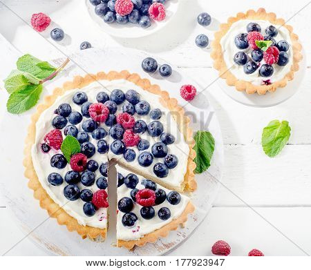 Sweet Cheese Cakes With Berries, Mint And Whipped Cream.