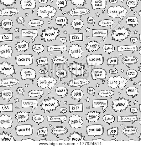 Hand drawn seamless pattern of speech bubbles with dialog words. Vector endless abstract background