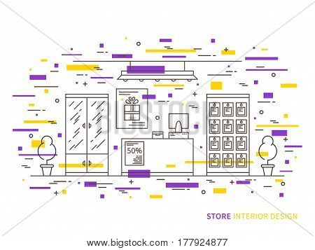 Linear flat interior design illustration of trendy shop interior space with flowers shelves table counter lamps showcase. Outline vector graphic concept of store interior design.