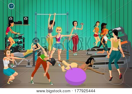 Women in sportswear are engaged in a gym. Vector flat cartoon illustration