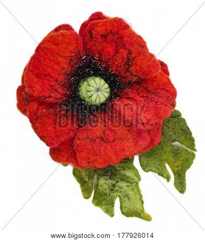 Wet felted brooch isolated on a white background. Poppy flower shape