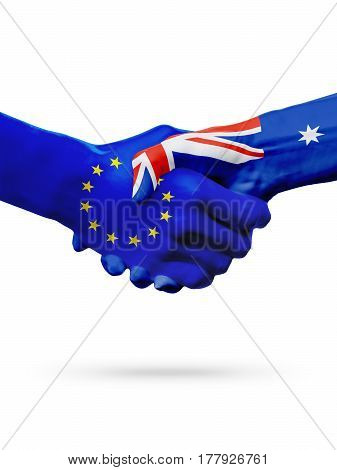 Flags European Union Australia countries handshake cooperation partnership friendship or sports competition concept isolated on white