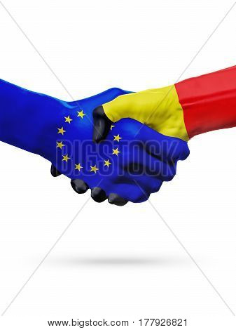 Flags European Union Belgium countries handshake cooperation partnership friendship or sports competition concept isolated on white