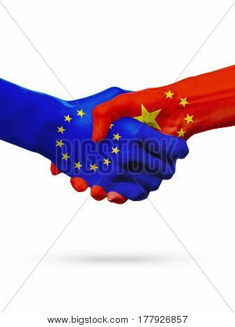 Flags European Union China countries handshake cooperation partnership friendship or sports competition concept isolated on white