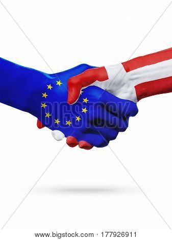 Flags European Union Denmark countries handshake cooperation partnership friendship or sports competition concept isolated on white