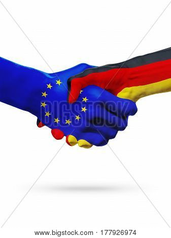 Flags European Union Germany countries handshake cooperation partnership friendship or sports competition concept isolated on white