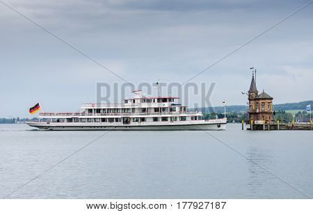 CONSTANCE GERMANY - JUNE 12 2013: The ship and lighthouse (