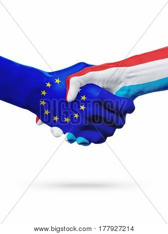 Flags European Union Luxembourg countries handshake cooperation partnership friendship or sports competition concept isolated on white
