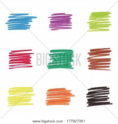 Colorful marker stains (9 colors), vector illustration
