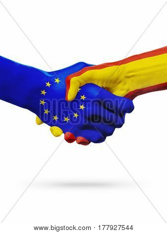 Flags European Union Spain countries handshake cooperation partnership friendship or sports competition concept isolated on white