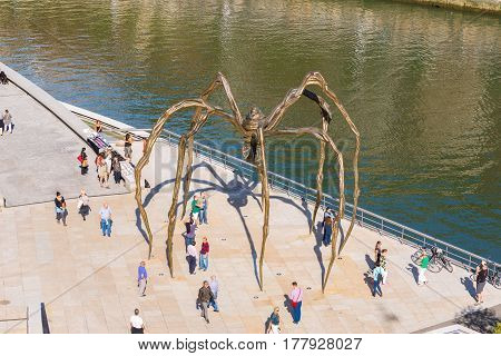 BILBAO, SPAIN - OCTOBER 07. The Maman bronze, stainless steel sculpture from the artist Louise Bourgeois in the city Bilbao on October 07, 2016.