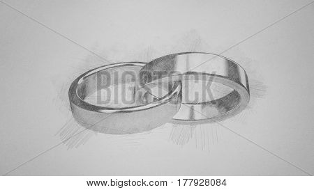 Marriage marriage marry ring rings wedding ring wedding rings illustration pencil sketch